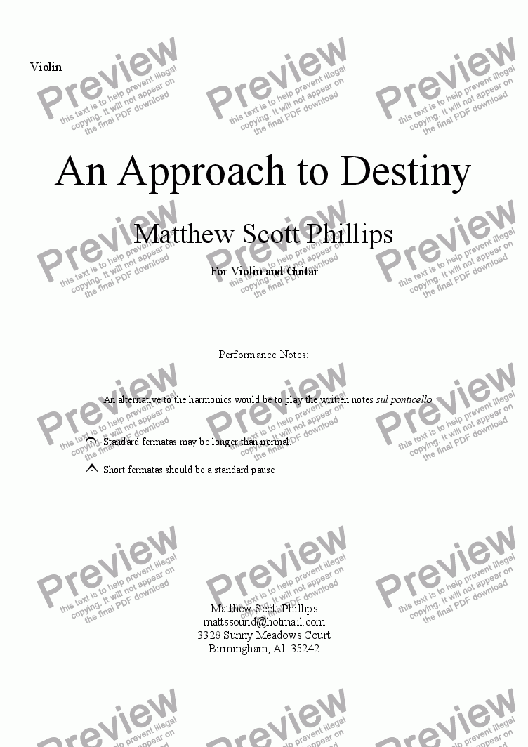 page one of the Violin part from An Approach to Destiny (Violin and Guitar)