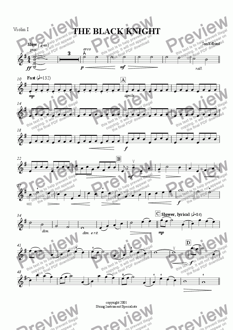 page one of the violin 1 part from The Black Knight