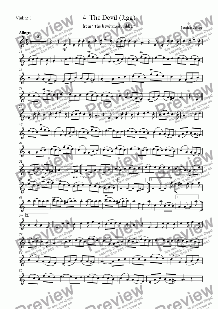 page one of the 1.Vl part from The bewitched Fiddler (04.The Devil)