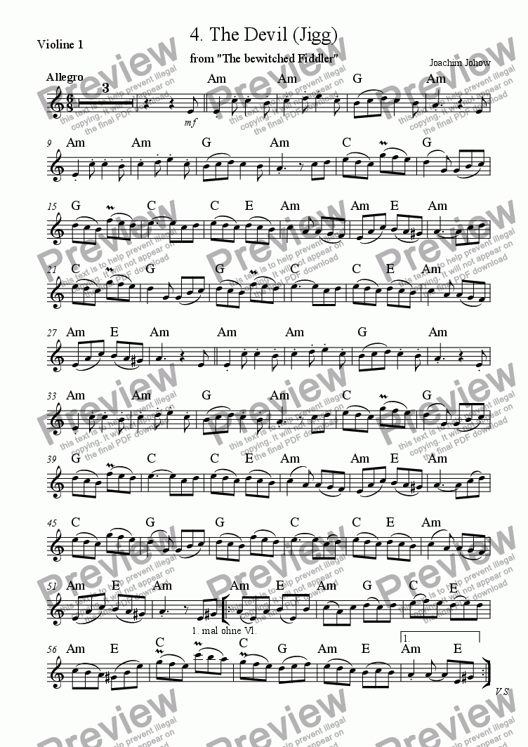 page one of the 1.Vl Harmony part from The bewitched Fiddler (04.The Devil)