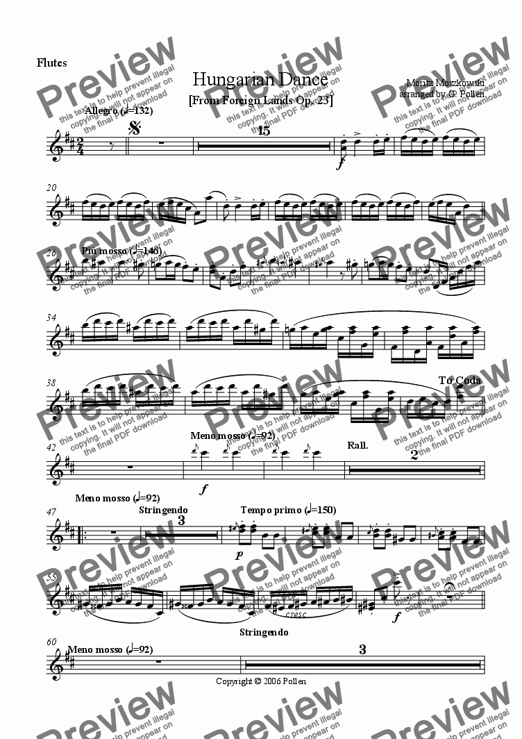 page one of the Flutes part from Hungarian Dance [From Foreign Lands] Op. 23