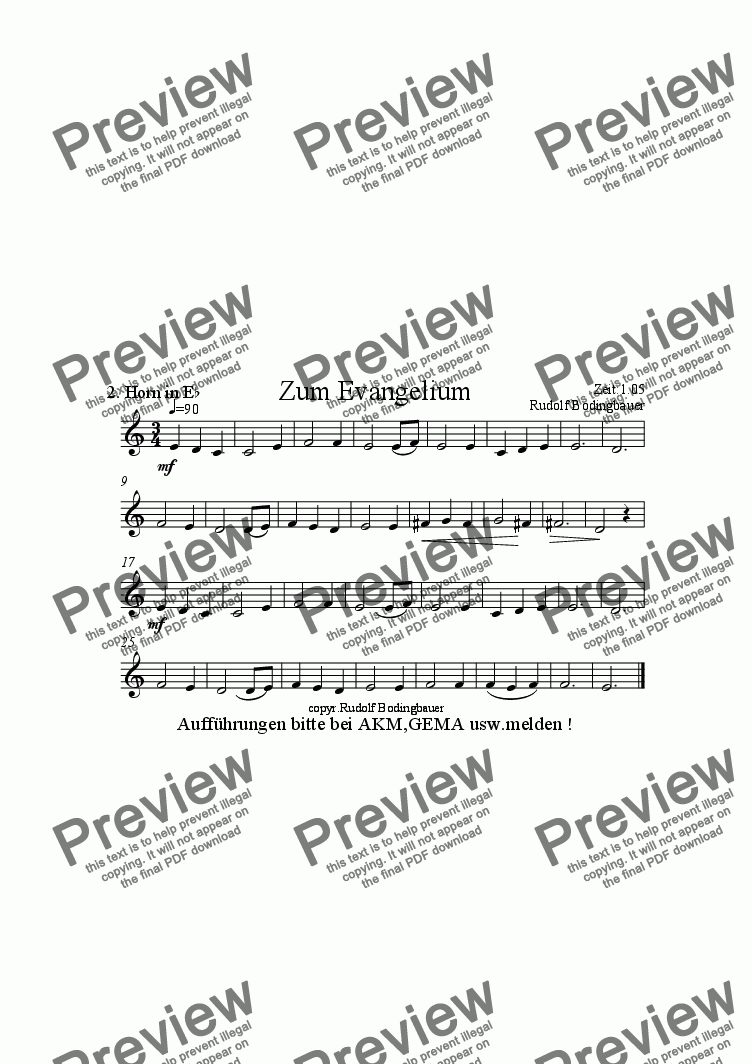 page one of the 2. Horn in Es Evangelium part from Trag�sser Messe  Blasorchester