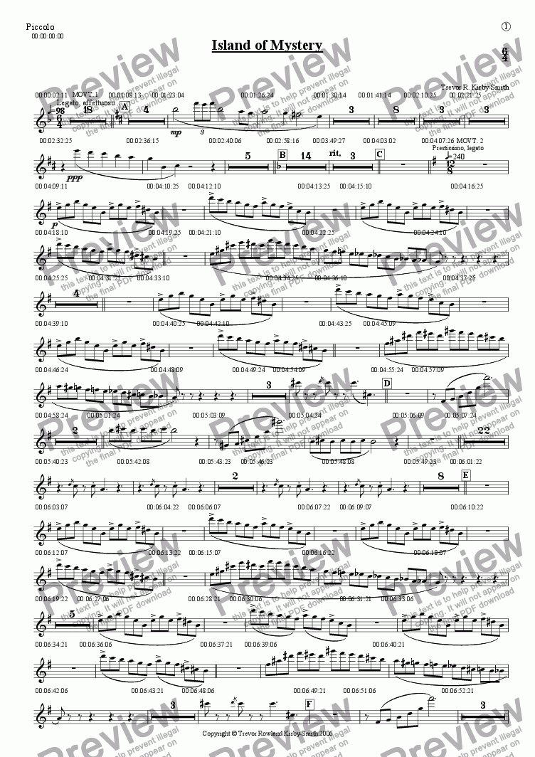 page one of the Piccolo part from Opus 17 Island of Mystery