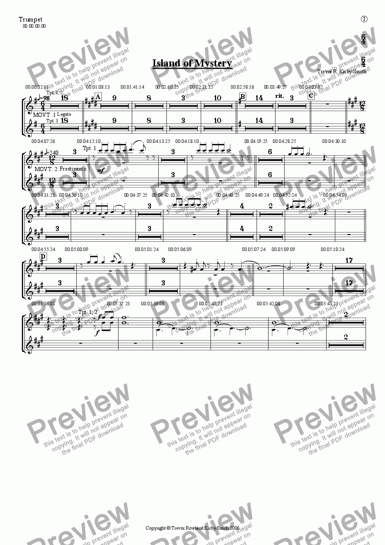 page one of the Trumpet part from Opus 17 Island of Mystery