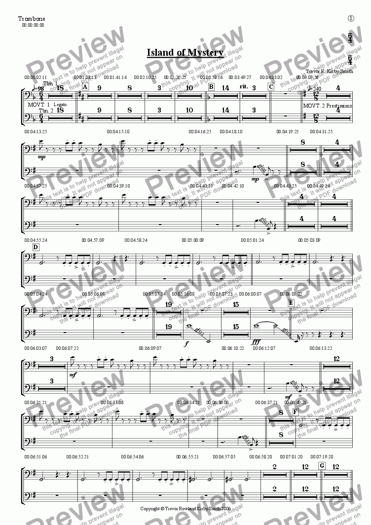 page one of the Trombone part from Opus 17 Island of Mystery