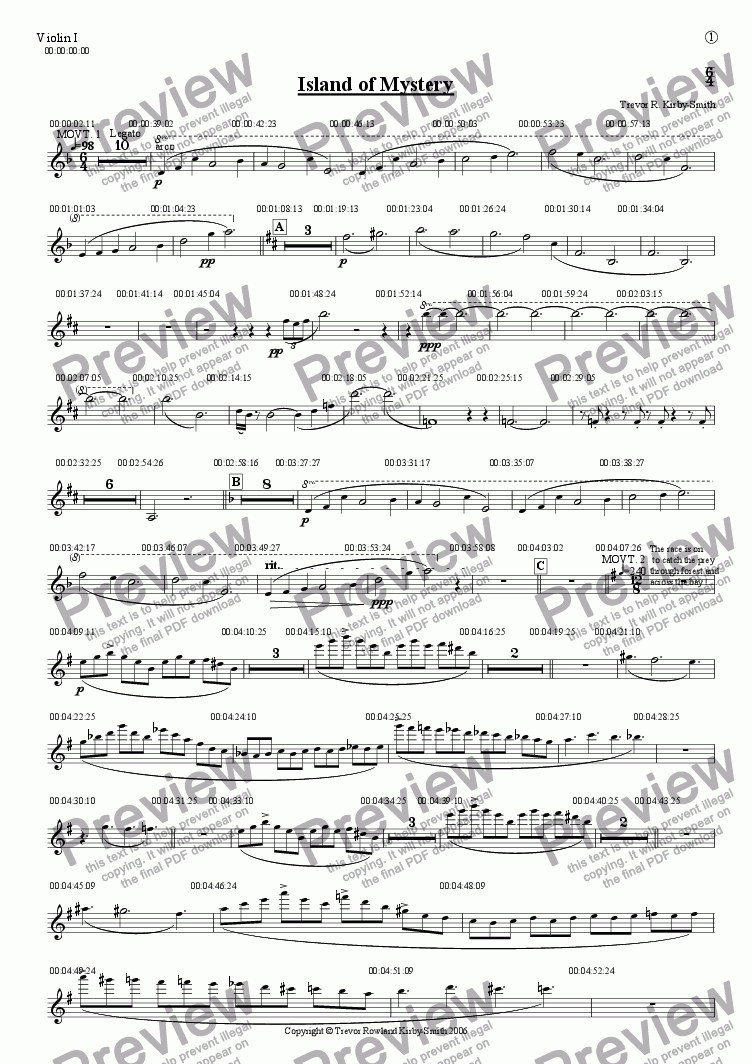 page one of the Violin I part from Opus 17 Island of Mystery