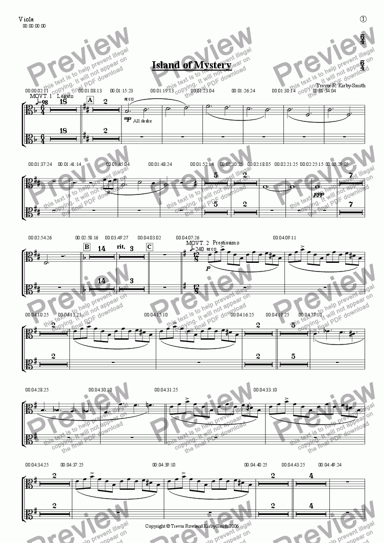 page one of the Viola part from Opus 17 Island of Mystery