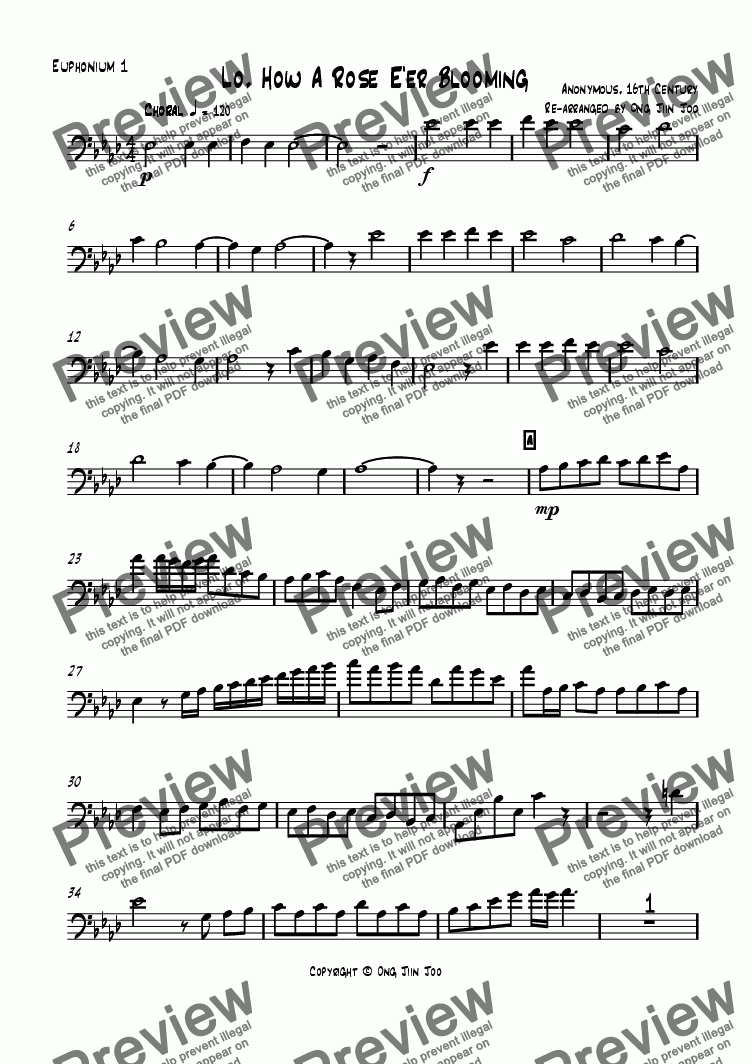 page one of the Euphonium 1 part from Lo! How a Rose Ee'r Blooming