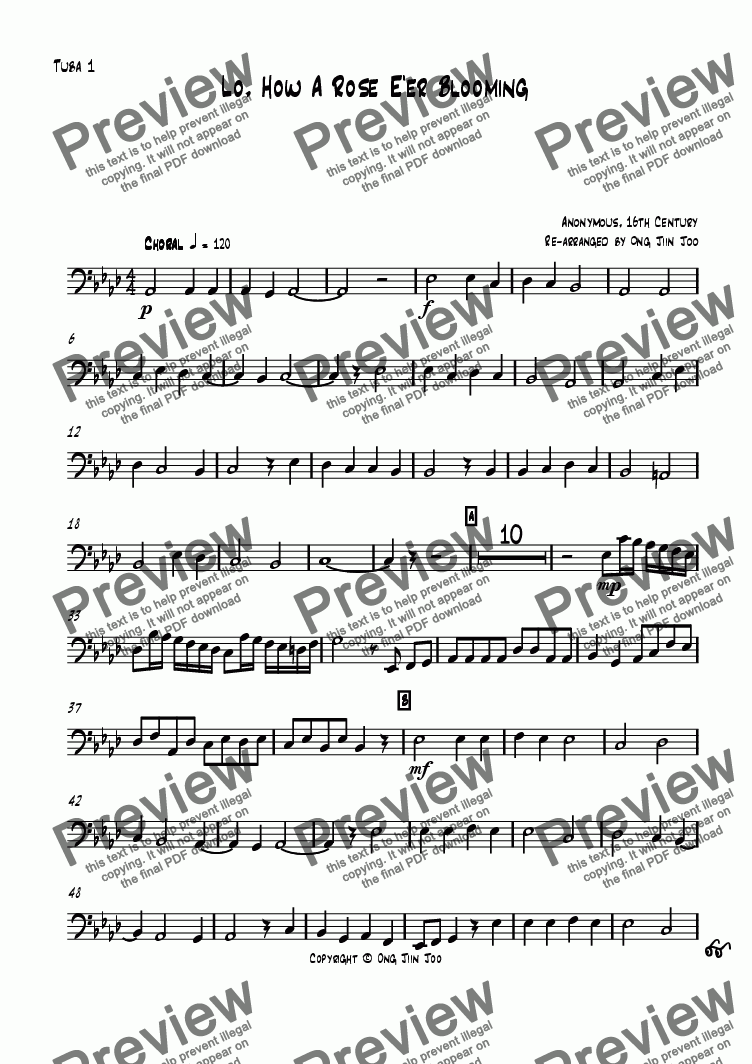 page one of the Tuba 1 part from Lo! How a Rose Ee'r Blooming