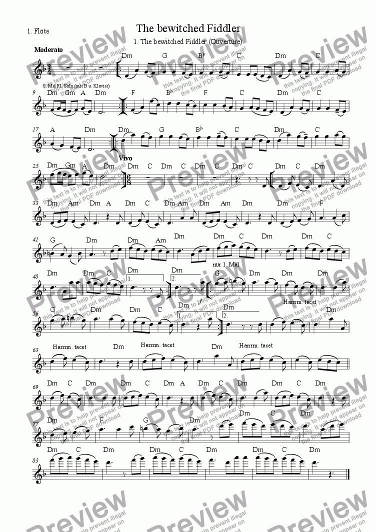 page one of the 1. Fl part from The bewitched Fiddler (01.Ouverture)