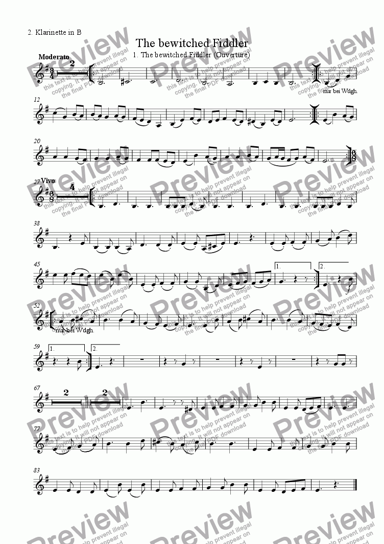 page one of the 2. Cl B part from The bewitched Fiddler (01.Ouverture)