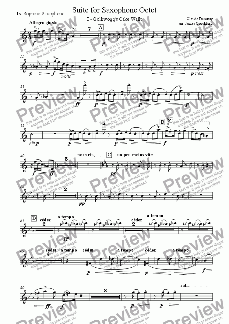 page one of the 1st Soprano Saxophone part from Suite for Saxophone Octet/Ensemble (SSAATTBB)
