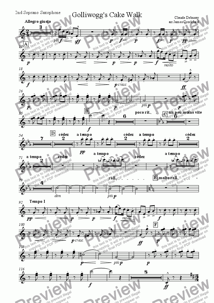 page one of the 2nd Soprano Saxophone part from Suite for Saxophone Octet/Ensemble (SSAATTBB)