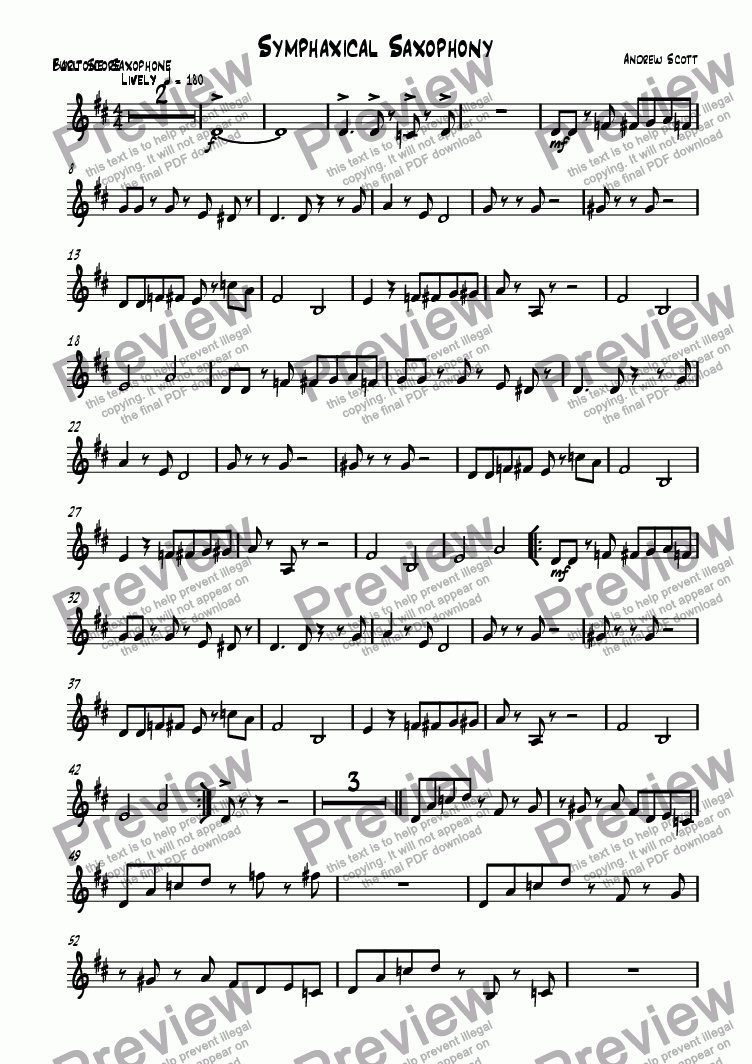 page one of the Bari Sax part from Symphaxical Saxophony