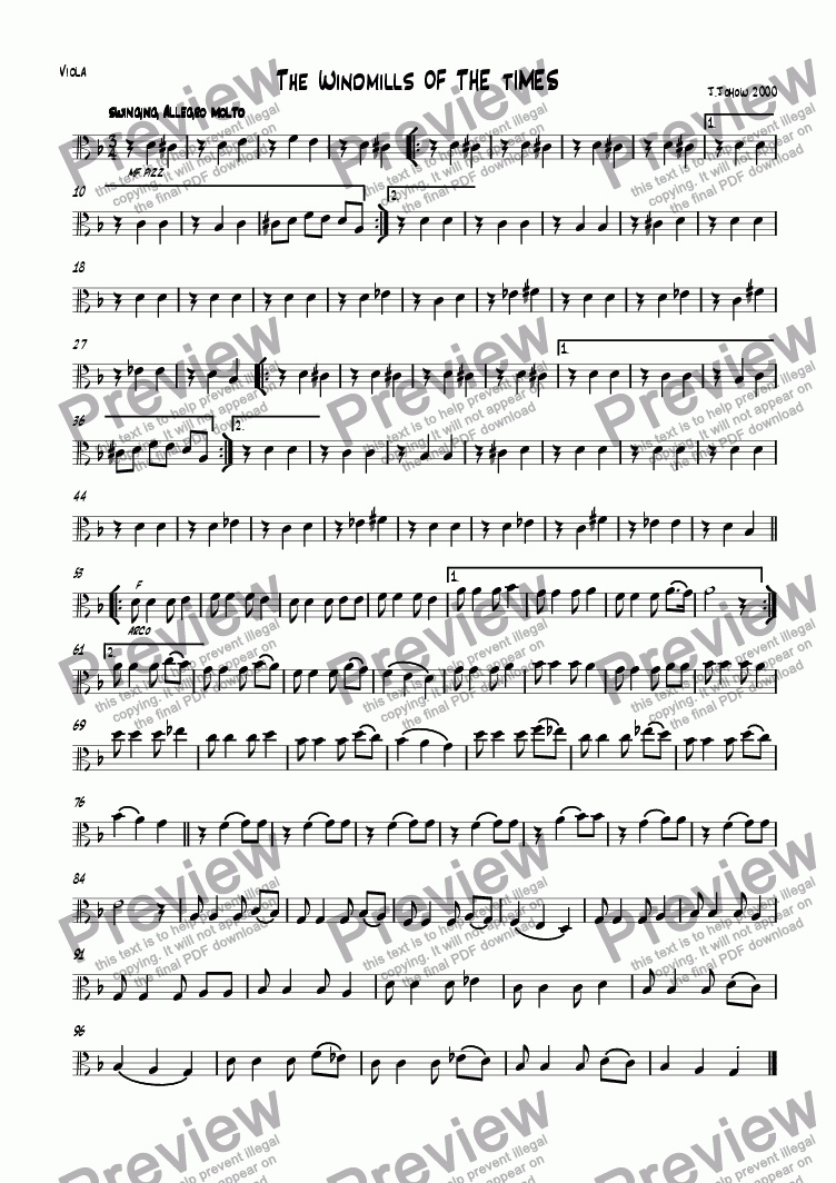 page one of the Vla part from The windmills of the times (Round for strings and piano)