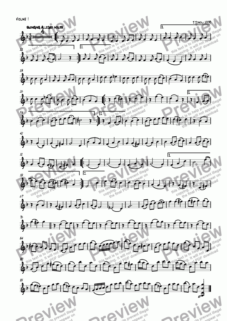 page one of the 1. Vl part from The windmills of the times (Round for strings and piano)