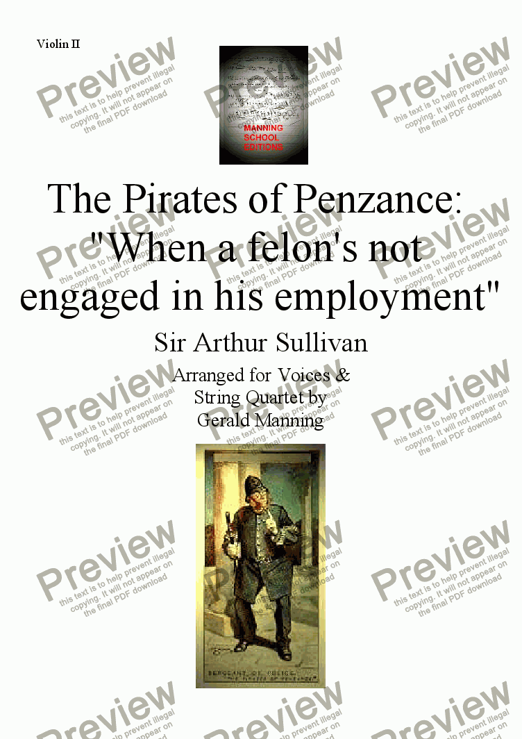 page one of the Violin II part from Gilbert & Sullivan - Songs from the Savoy Operas - The Pirates of Penzance: 'When a felon's not engaged in his employment' - arr. for Voices & String Quartet by Gerald Manning