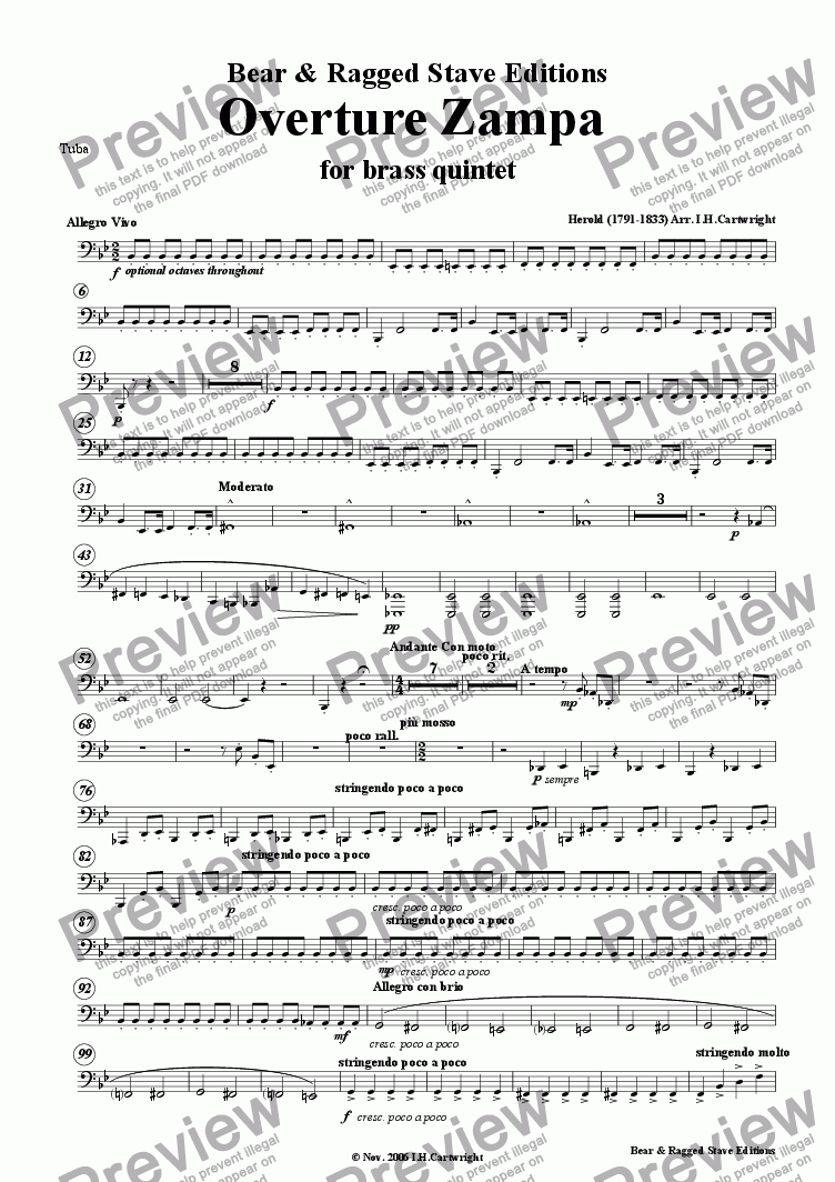 page one of the Tuba part from  Zampa Overture for brass quintet