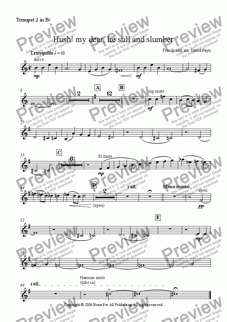 page one of the Trumpet 2 in Bb part from Hush! my dear, lie still and slumber