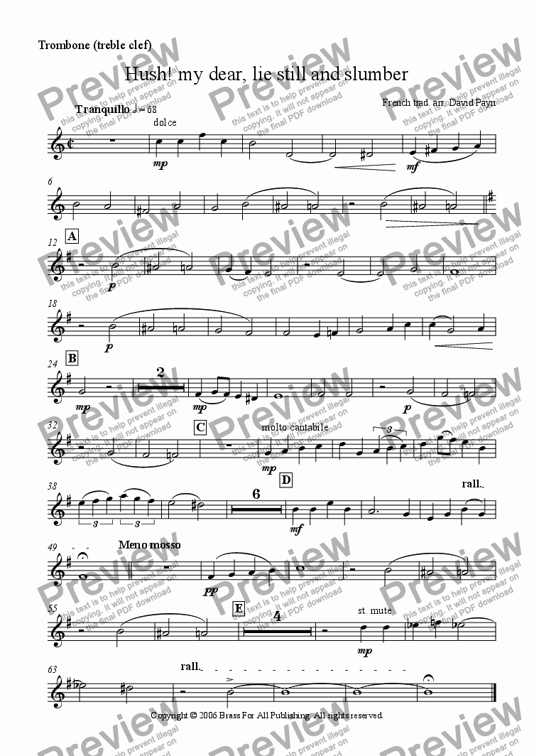 page one of the Trombone (Treble clef) part from Hush! my dear, lie still and slumber