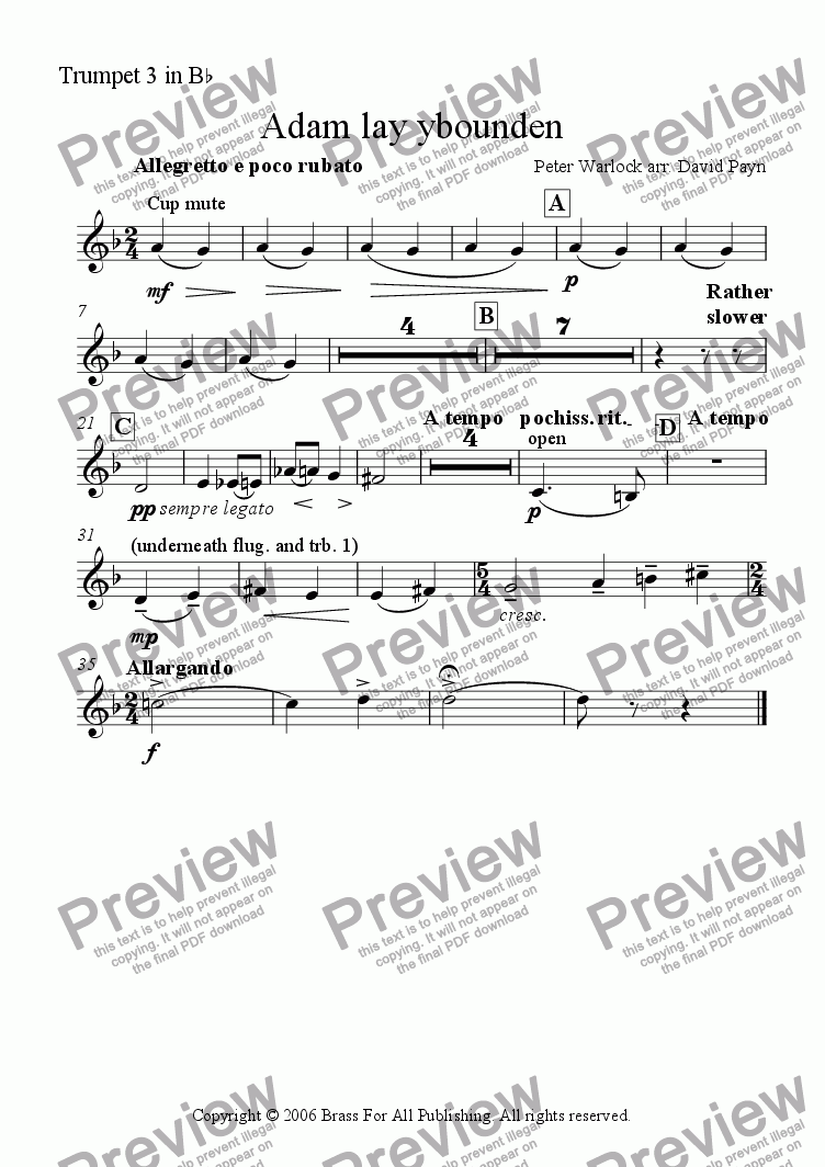 page one of the Trumpet 3 in Bb part from Adam lay ybounden