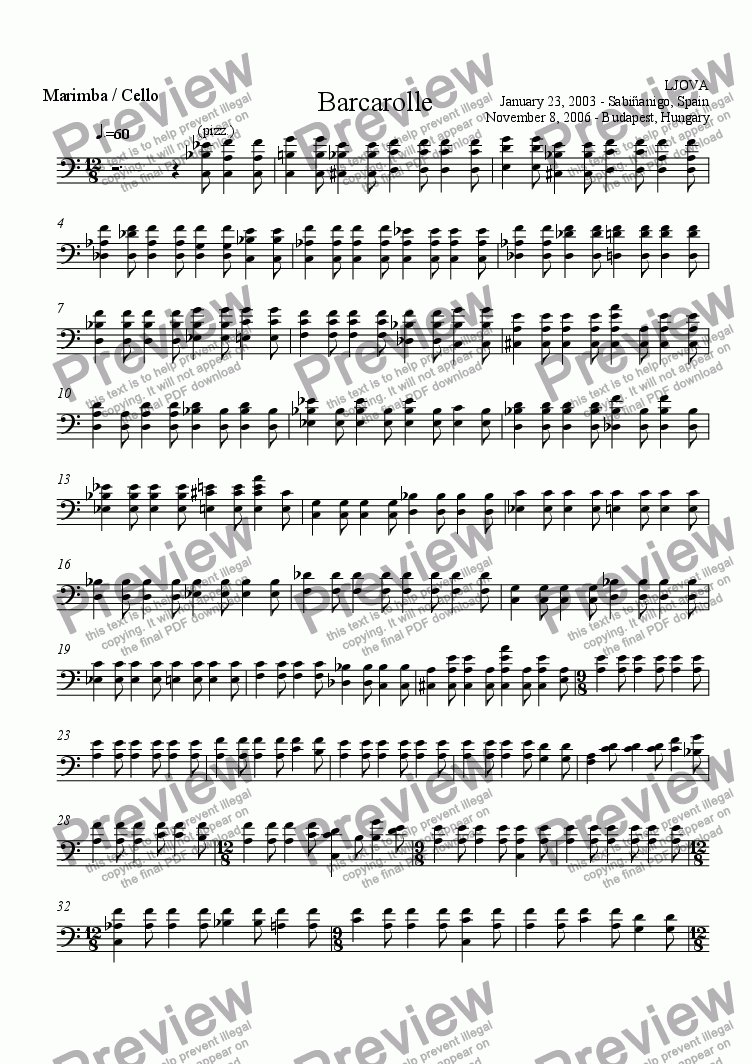 page one of the Cello / Marimba part from Barcarolle