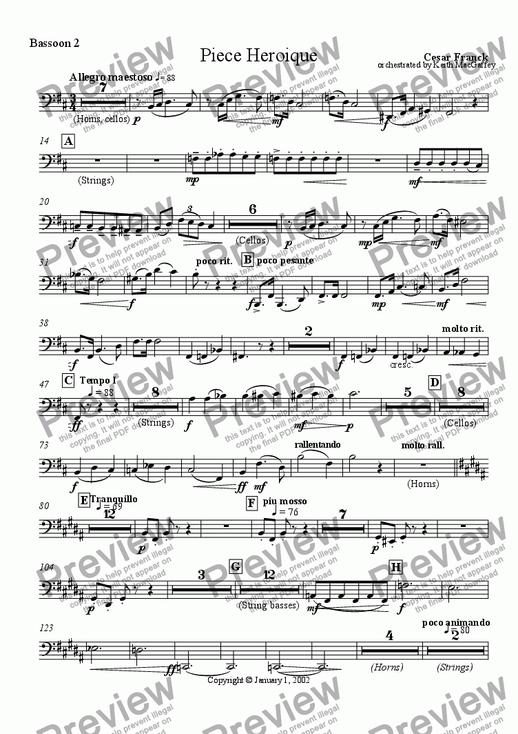 page one of the Bassoon 2 part from Cesar Franck: Piece Heroique arranged for orchestra