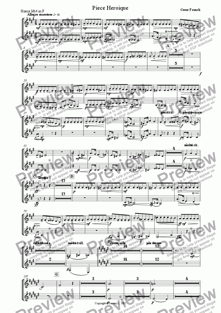 page one of the Horns 3 & 4 in F part from Cesar Franck: Piece Heroique arranged for orchestra