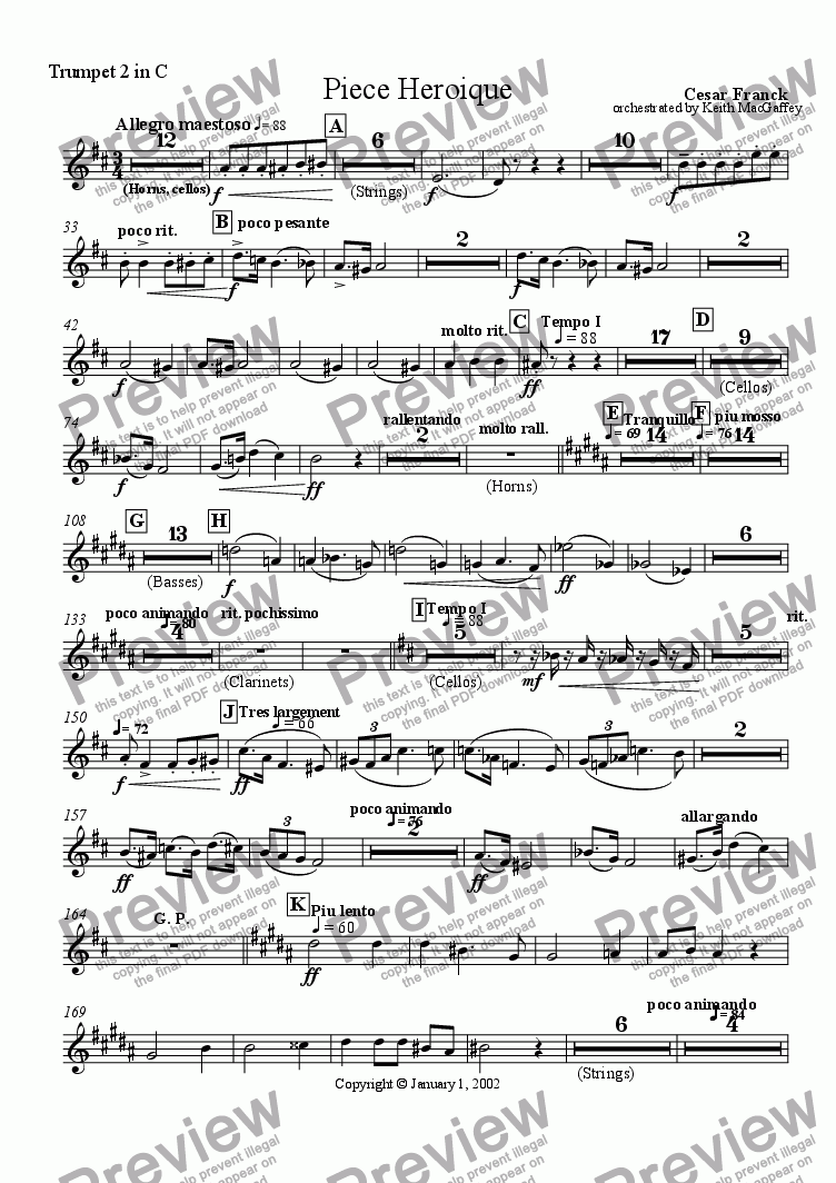 page one of the Trumpet 2 in C part from Cesar Franck: Piece Heroique arranged for orchestra