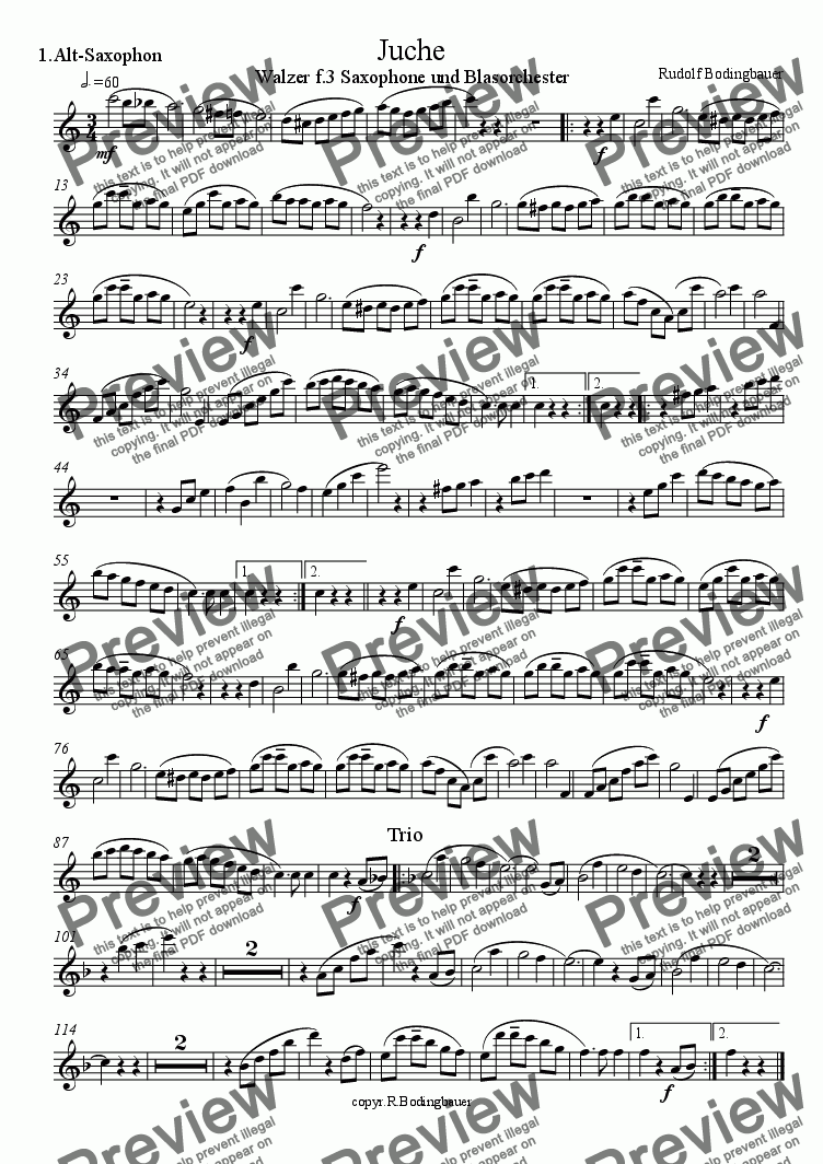 page one of the 1.Alt-Saxophon part from Juche  Walzer f. 3 Saxophone und Blasorchester