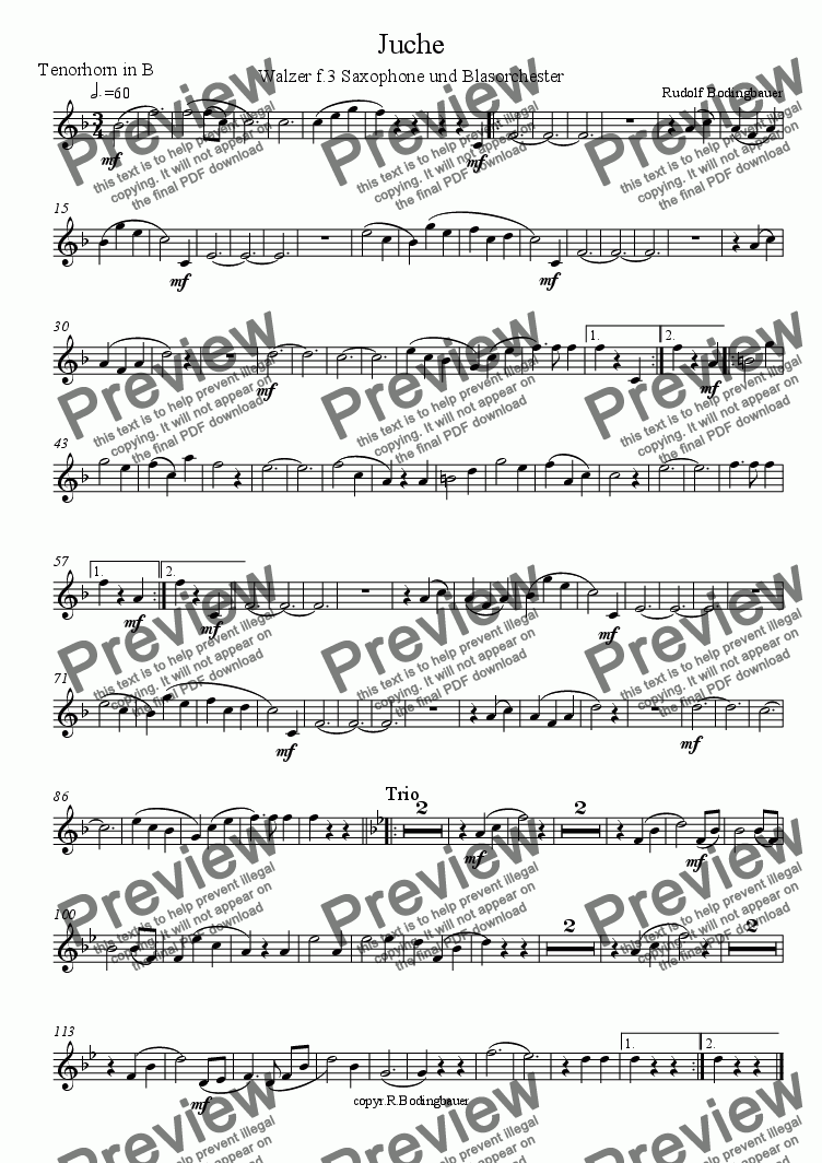 page one of the Tenorhorn part from Juche  Walzer f. 3 Saxophone und Blasorchester