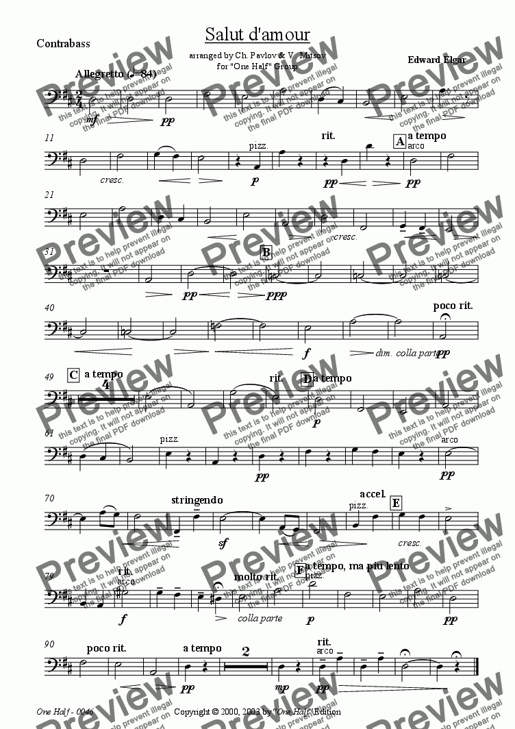 "page one of the Contrabass part from Elgar - ""Salut d'amour"" for solo cello and string orchestra"