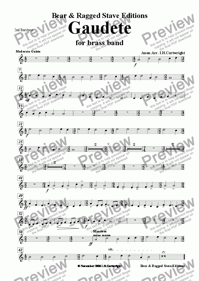 page one of the 2nd Baritone part from Gaudete for brass band