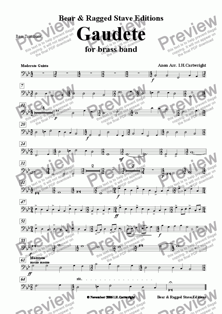 page one of the Bass trombone part from Gaudete for brass band