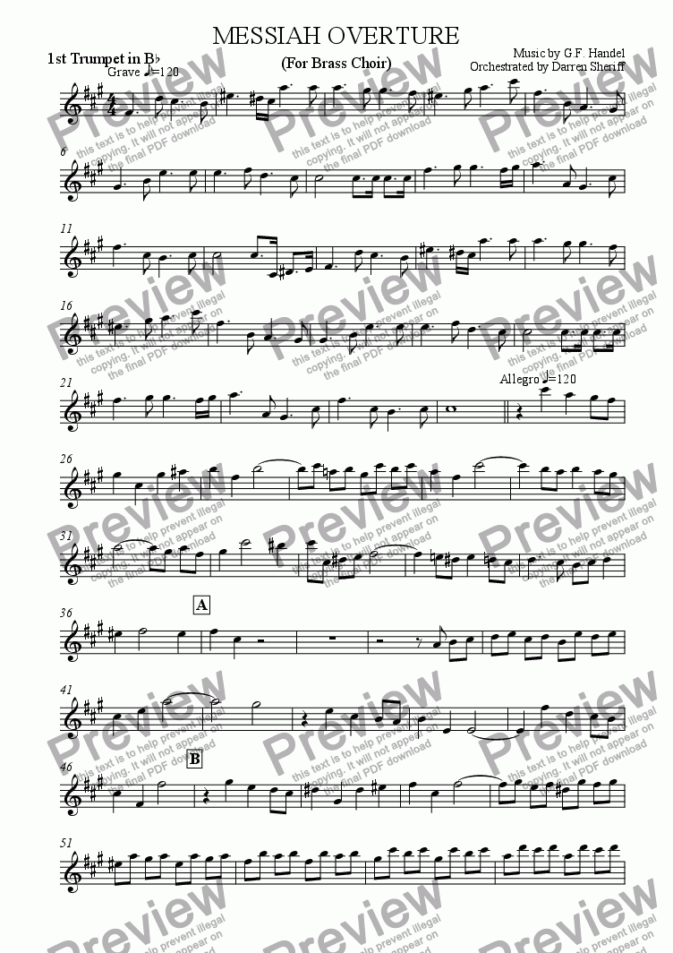 page one of the 1st Trumpet part from The Messiah Overture