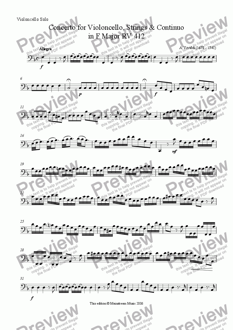 page one of the Cello Solo part from Concerto in F Major for violoncello, strings & continuo RV 412