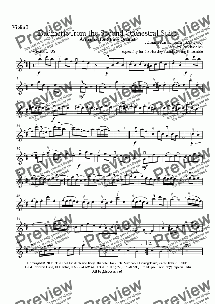 page one of the Violin I part from Badinerie from the Second Orchestral Suite (String Quartet)