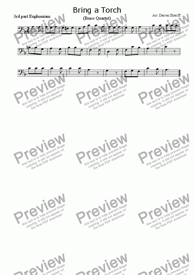 page one of the 3rd part Euphonium part from Bring a Torch