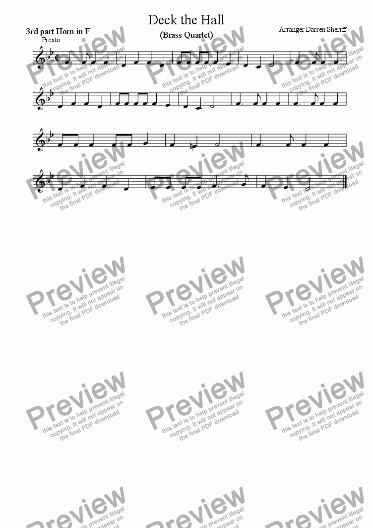 page one of the 3rd part French Horn part from Deck the Halls for Brass Quartet