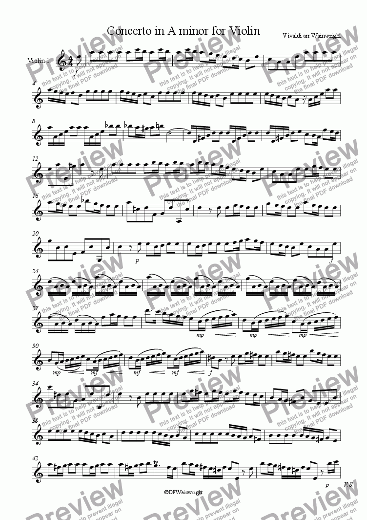 page one of the Violin 1 part from Concerto in A minor