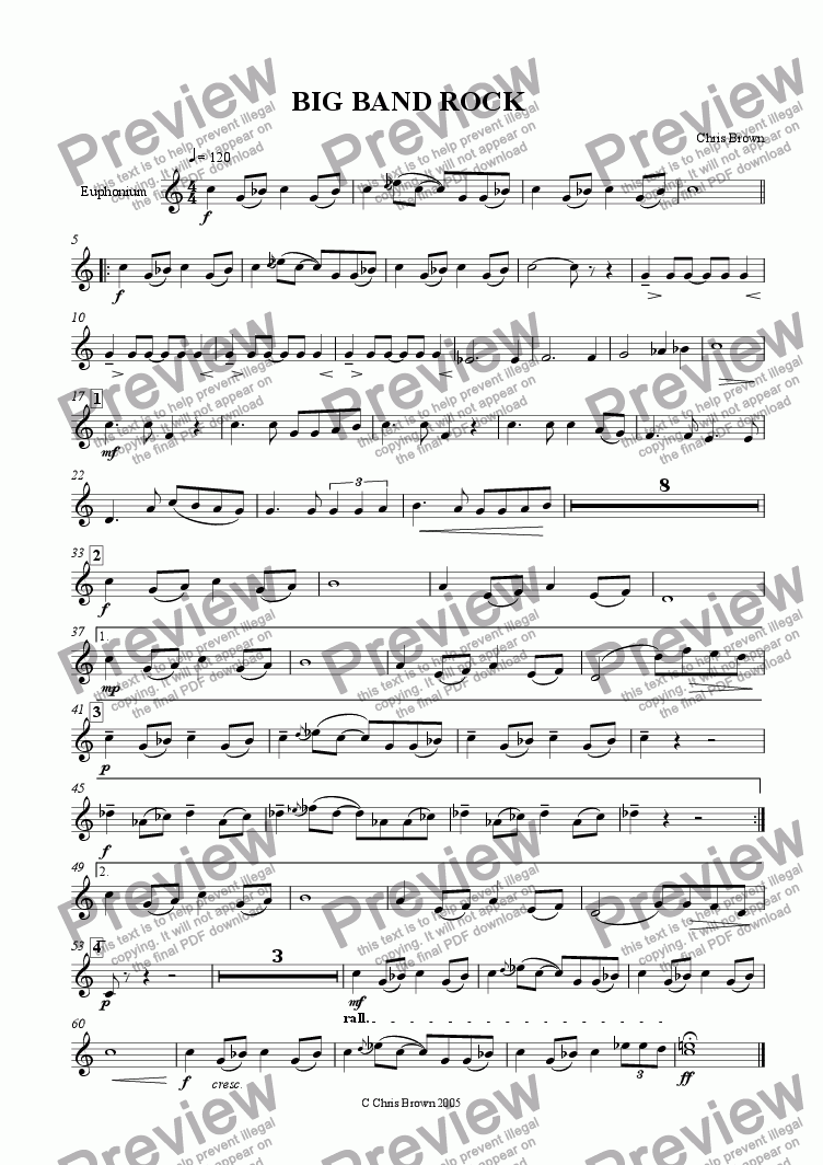 page one of the Euphonium part from Big Band Rock