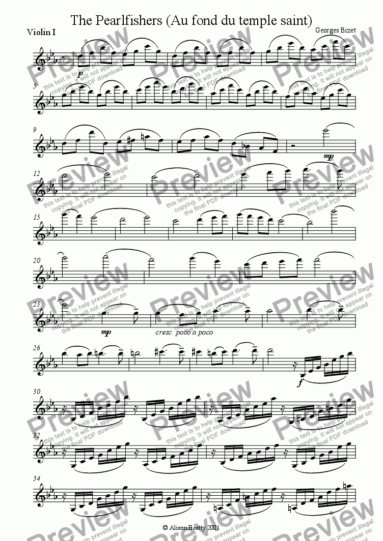 page one of the violin 1 part from The Pearlfishers