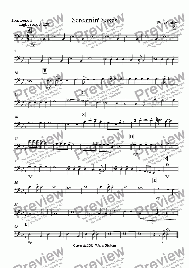 page one of the Trombone 3 part from Screamin' Saxes: big band version