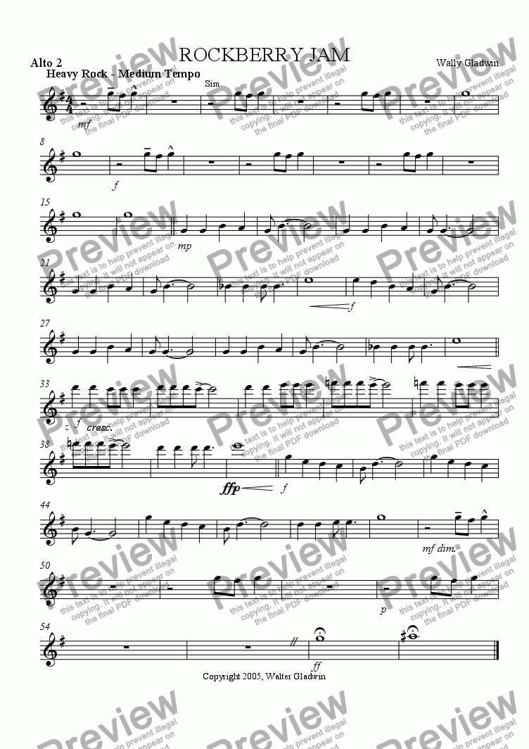 page one of the Alto 2 part from Rockberry Jam: big band version