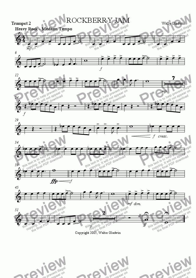page one of the Trumpet 2 part from Rockberry Jam: big band version