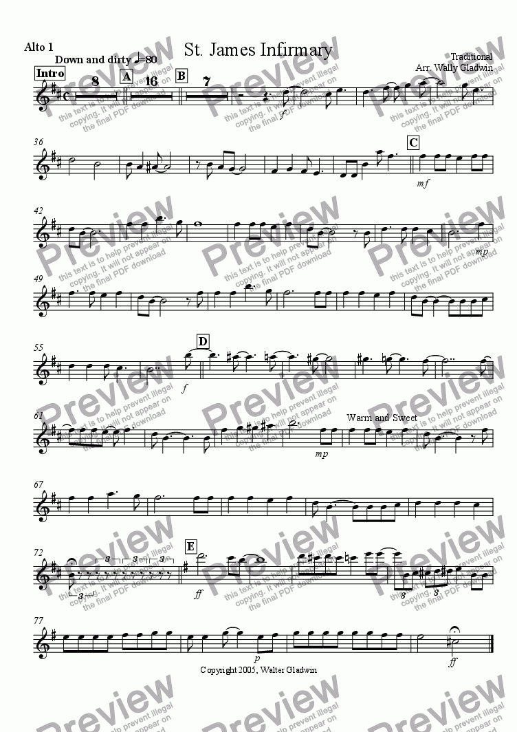 page one of the Alto 1 part from St. James Infirmary (Big Band)