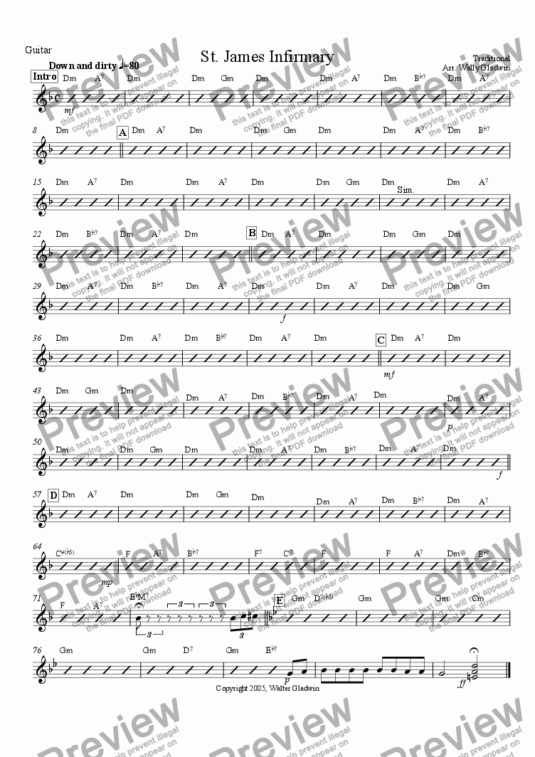 page one of the Guitar part from St. James Infirmary (Big Band)