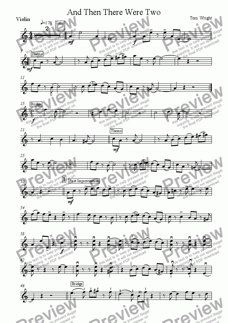 page one of the Violin part from And Then There Were Two