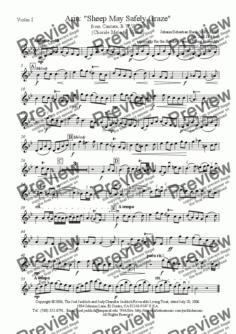 page one of the Violin I (Chorale Melody) part from Sheep May Safely Graze (Chorale Melody in Violin)