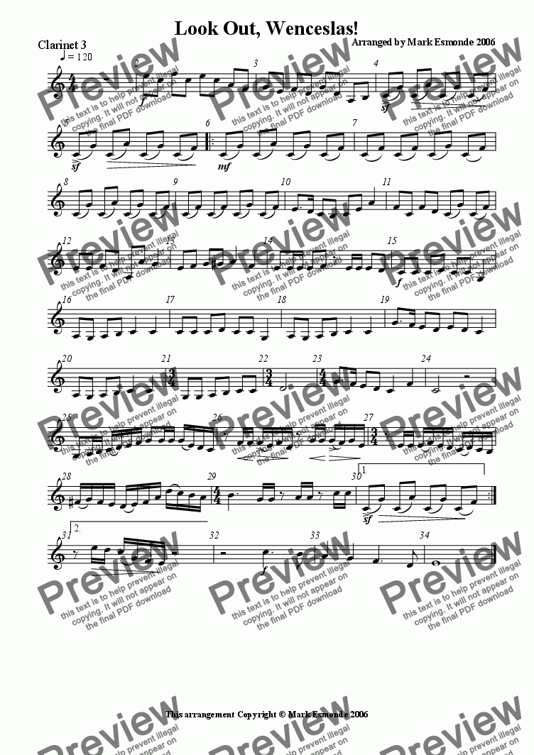 page one of the Clarinet 3 part from Look Out, Wenceslas! Clarinet Quartet